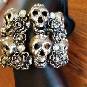 Silver skull cuff bracelet with rhinestones